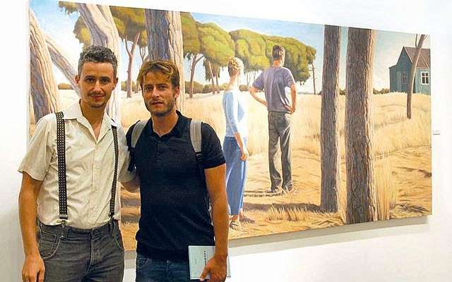 Alex Tubis with Michael Aloni, with his work Come to me. Stay with me, 2016, in the background.