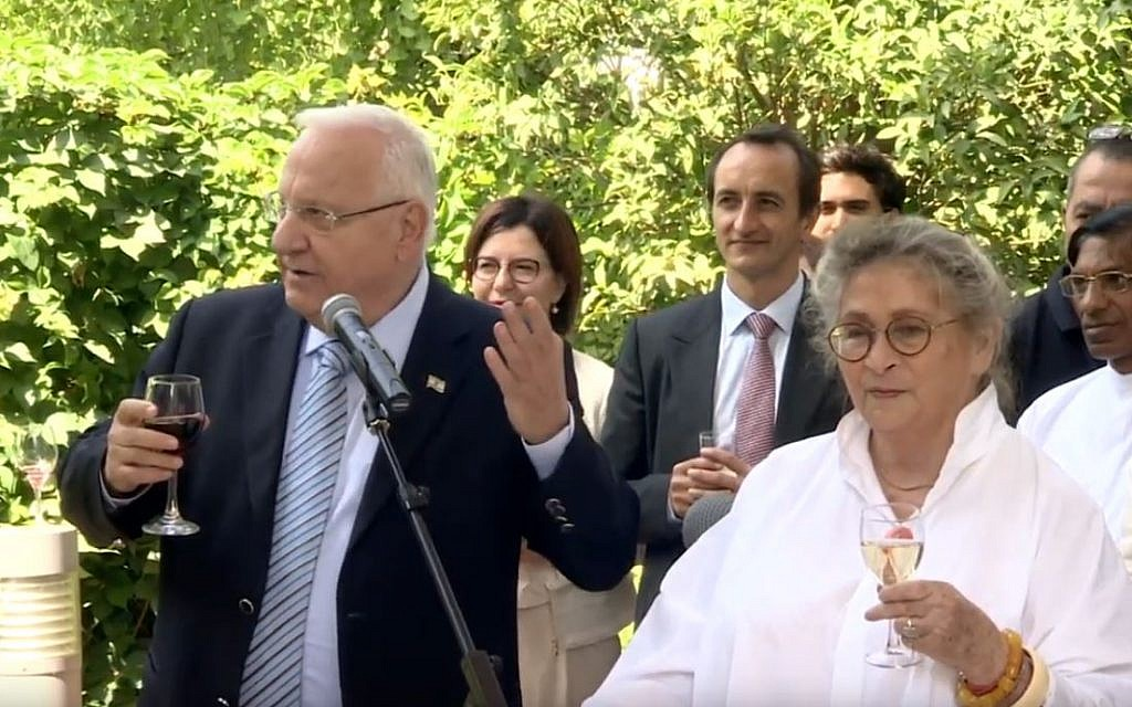 President Reuven with First Lady at a Rosh Hashanah reception in 2016