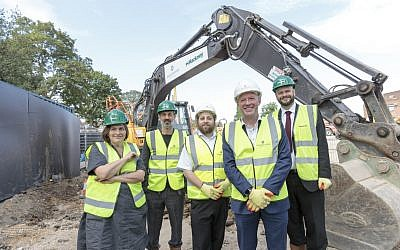 Tower Court Ground breaking ceremony. L-R: Liza Fior, muf architecture/art; Adam Khan, Adam Khan Architects; Motty Friesel, Hatzola; Andy Fancy, Countryside; Philip Glanville, Mayor of Hackney