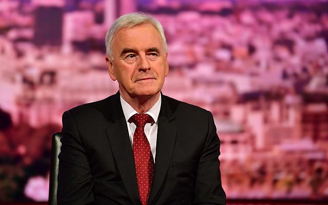 John McDonnell  appearing on the BBC1 current affairs programme last year, The Andrew Marr Show. Photo credit: Jeff Overs/BBC/PA Wire