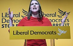 Jo Swinson speaking at Proud Embankment in London after she was elected leader of the Liberal Democrats. Photo credit: Stefan Rousseau/PA Wire
