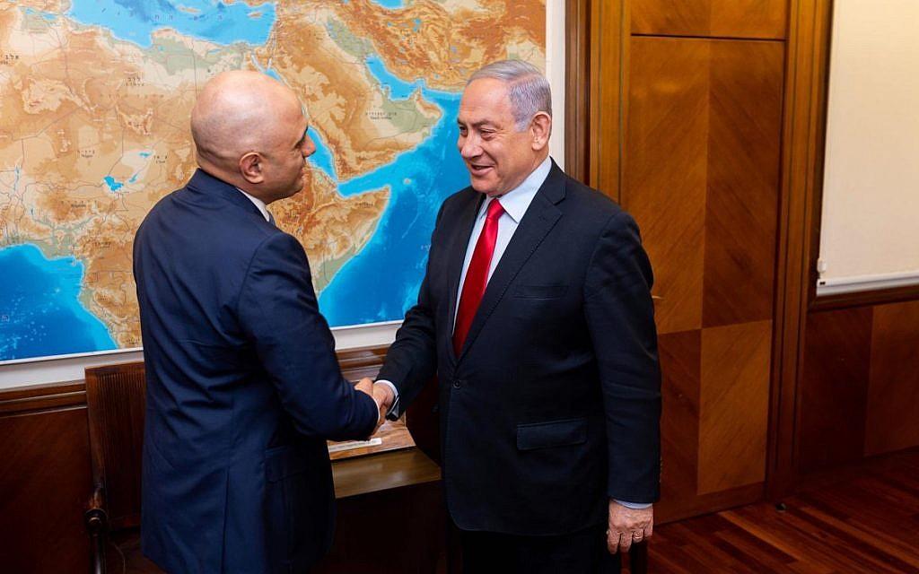 Sajid Javid meeting Israeli PM Benjamin Netanyahu