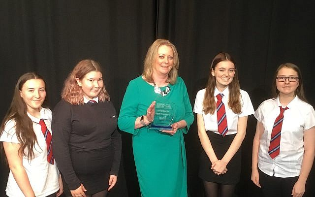 Dyce Academy accepting the honour from Yad Vashem. (Credit: Aberdeen City Council on twitter)