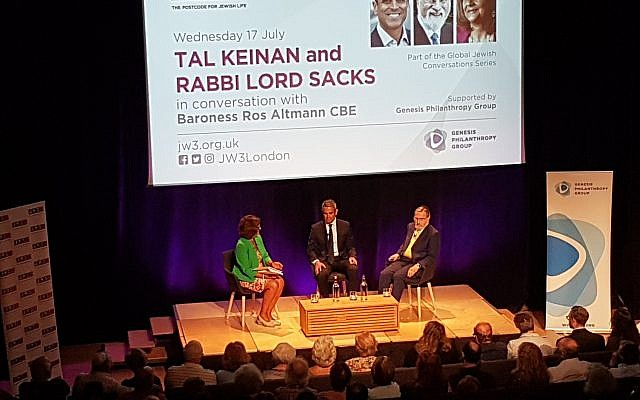 Rabbi Lord Sacks in conversation with Tal Keinan at an event moderated by Baroness Ros Altmann at JW3