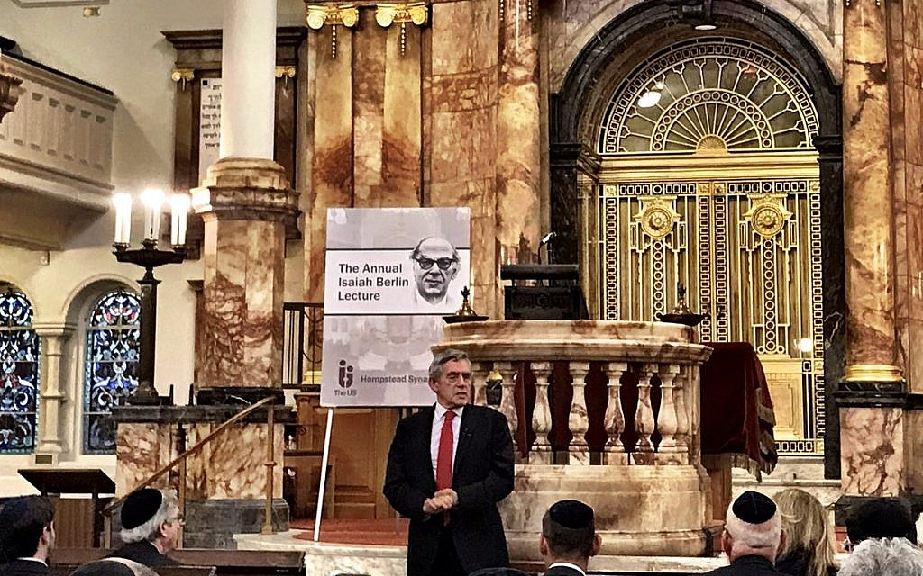 Gordon Brown addressing the  17th annual Isaiah Berlin Lecture (Credit: OfficeGSBrown on Twitter)