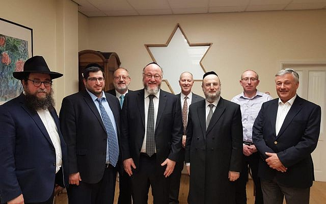 Chief Rabbi and Dayan Gelley with Rabbis Fagelman and Kievman and lay members of the Liverpool Kashrut Commission