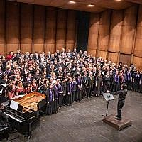 Massed Choir singing Hevenu Shalom Aleichem at the Gala Concert of the European Association of Jewish Choirs Festival in Ferrara  (Source: European Association of Jewish Choirs Facebook page)