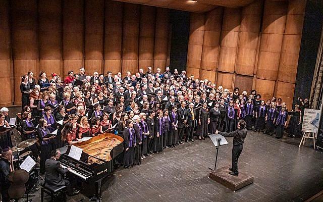 Massed Choir singing Hevenu Shalom Aleichem at the Gala Concert of the European Association of Jewish Choirs Festival in Ferrara  (Source: European Association of Jewish Choirs Facebook page)