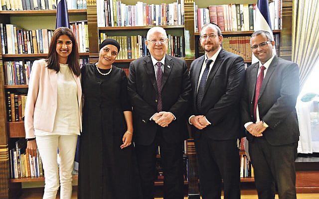 Anat Nehemia Lavee, Faten Alzinati, President Reuven Rivlin, Rabbi Zvi Shreiber and Harel Tubi