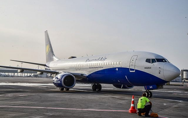 RwandAir flight in Tel Aviv in late June, after the airline launched its Tel Aviv route