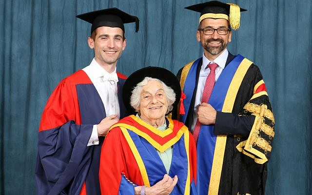 Dr Christopher Stephens, Head of Southlands College, Vera Schaufeld and, Professor Jean-Noël Ezingeard, Vice Chancellor of the University of Roehampton