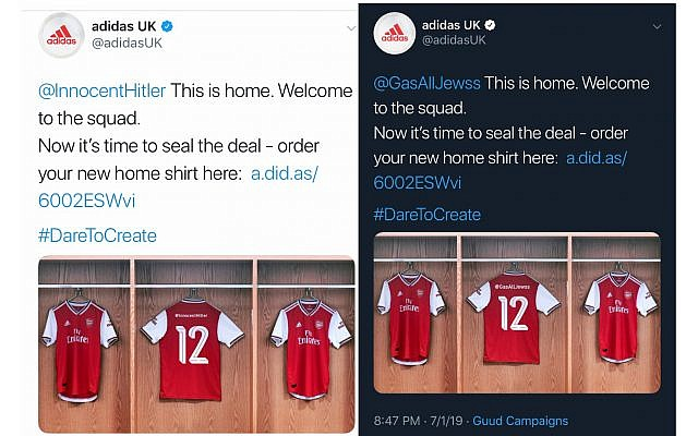 Screenshots show Adidas UK tweeting out offensive antisemitic accounts (Screenshots from Twitter)