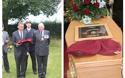 Left: Dignitaries including Mark Regev lay wreaths in honour of Tom Derek Bowden. Right: His coffin with a portrait and flowers (Credit: Stan Kaye)