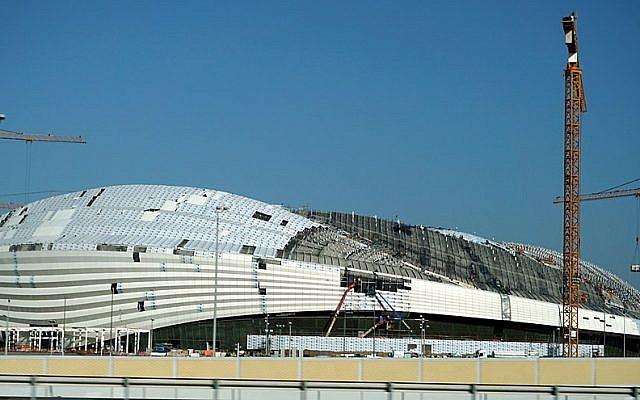 Al Wakrah Stadium under construction, 2019 (Credit: Mat Kieffer, Wikimedia Commons)