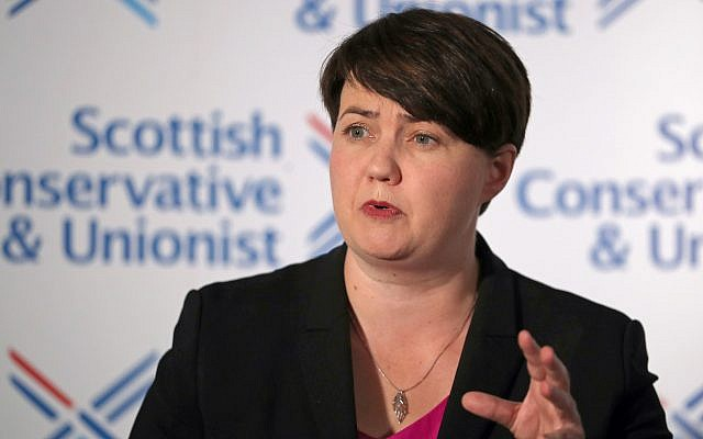 Leader of the Scottish Conservatives Ruth Davidson during a press conference at Holyrood Hotel in Edinburgh. (Photo credit should read: Jane Barlow/PA Wire)