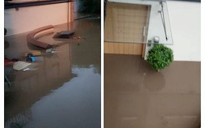 Split screen from the fundraising page showing the flood damage