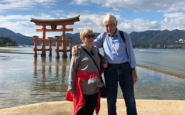 Eli Abt with his wife Muriel during a recent trip to Japan