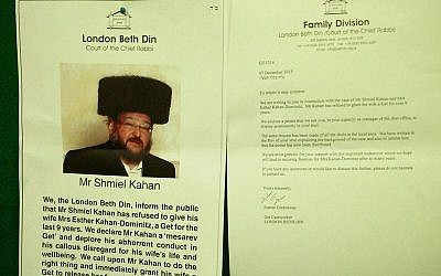 Poster that the London Beth Din issued in 2015 condemning his actions, calling on him to give her a get.