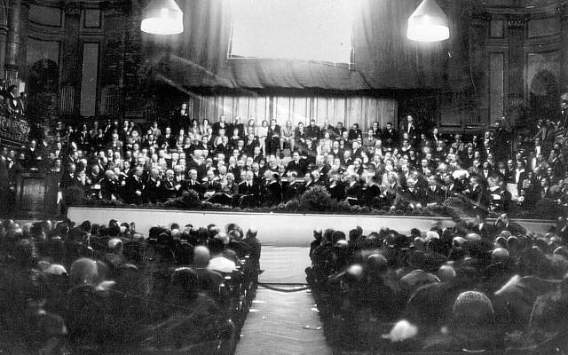 The Opening Assembly of The Jewish Agency for Israel in Zurich in 1929. Photo credit: Zionist Archive.