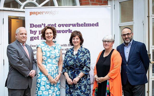 L to R: Benjamin Conway (Co-Founder and Chair, Paperweight) Gillian Merron (Chief Executive, Board of Deputies), Bayla Perrin (Co-Founder & Chief Executive, Paperweight), Leonie Lewis MBE (Trustee, Paperweight) and Alan Perrin (Trustee, Paperweight)