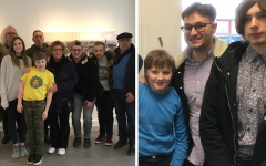 Left: Jacob Rumens in yellow, with his family; right:  Jacob in blue with his brothers Sam and Oli