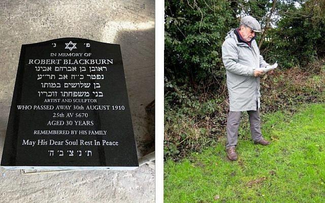 Robert Blackburn's headstone, left, Keith Blackburn, right