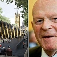 Front View of the chosen design for the Holocaust memorial left, Sir Ben Helfgott, right