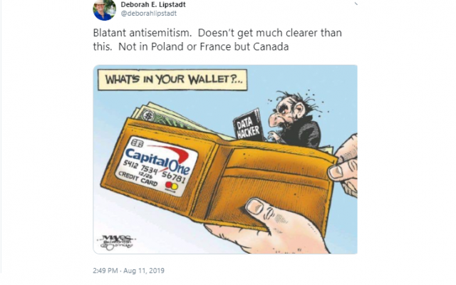 Screenshot of tweet from Deborah Lipstadt including the offending cartoon printed by the Canadian paper.