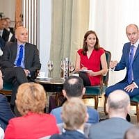 Lord Adonis, MEP Daniel Hannan and the journalist Tamara Cohen (Credit: Grainge Photography)