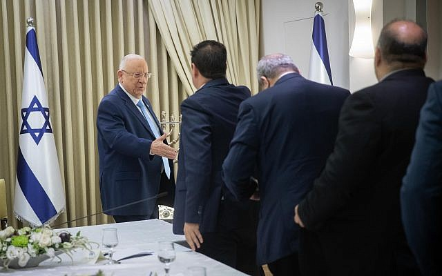 Members of the Joint List uring a consultation meeting with Israeli President Reuven Rivlin in Jerusalem, Sunday, Sept. 22, 2019. Rivlin began two days of crucial talks Sunday with party leaders before selecting his candidate for prime minister, after a deadlocked repeat election was set to make forming any new government a daunting task. Photo by: Yonantan Sindel-JINIPIX
