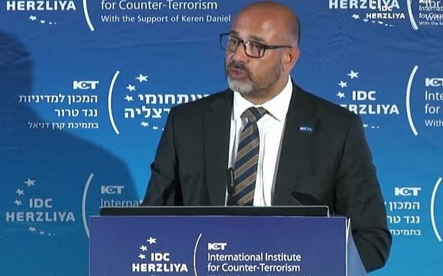 Metropolitan Police Assistant Commissioner Neil Basu, speaking at a conference in Israel. (Photo credit: National Police Chiefs' Council/PA Wire)