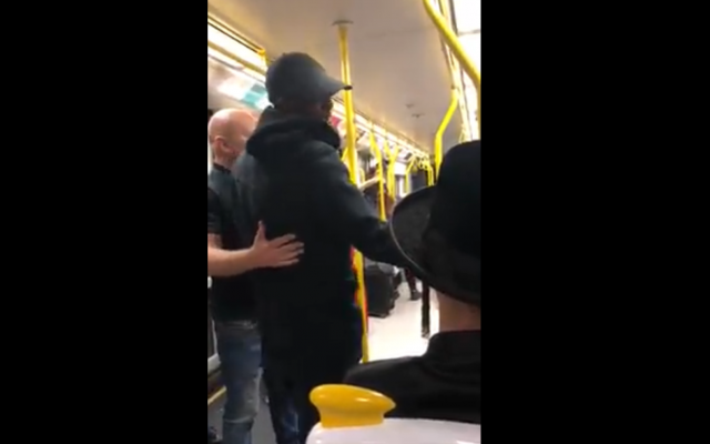 Screenshot from Facebook video posted by StandWithUS of the incident on a tram in Manchester