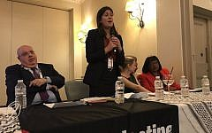 Lisa Nandy speaks at the PSC event during Labour conference (PSCUpdates on Twitter)