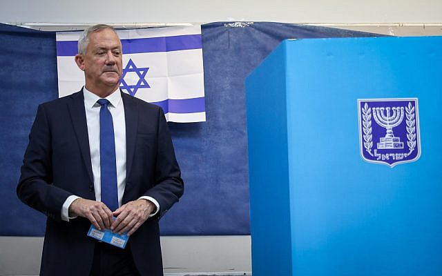 Benny Gantz, former Israeli Army Chief of Staff and chairman of the Blue and White Israeli centrist political alliance, prepares to cast his vote during the Israeli legislative elections, in Rosh Haayin, Israel, 17 September 2019. . Photo by: JINIPIX