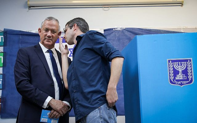 Benny Gantz, former Israeli Army Chief of Staff and chairman of the Blue and White Israeli centrist political alliance, prepares to cast his vote during the Israeli legislative elections, in Rosh Haayin, Israel, 17 September 2019.  Photo by: JINIPIX