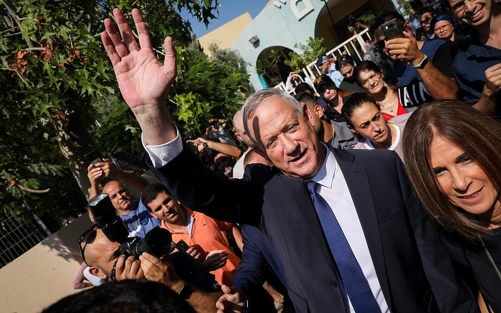Benny Gantz, former Israeli Army Chief of Staff and chairman of the Blue and White Israeli centrist political alliance, seen after he cast his vote during the Israeli legislative elections, in Rosh Haayin, Israel, 17 September 2019.. Photo by: JINIPIX