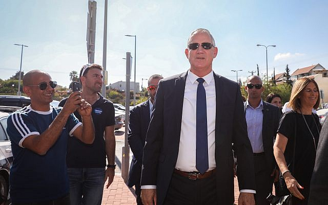 Benny Gantz, former Israeli Army Chief of Staff and chairman of the Blue and White Israeli centrist political alliance, arrives to cast his vote during the Israeli legislative elections, in Rosh Haayin, Israel, 17 September 2019. . Photo by: JINIPIX