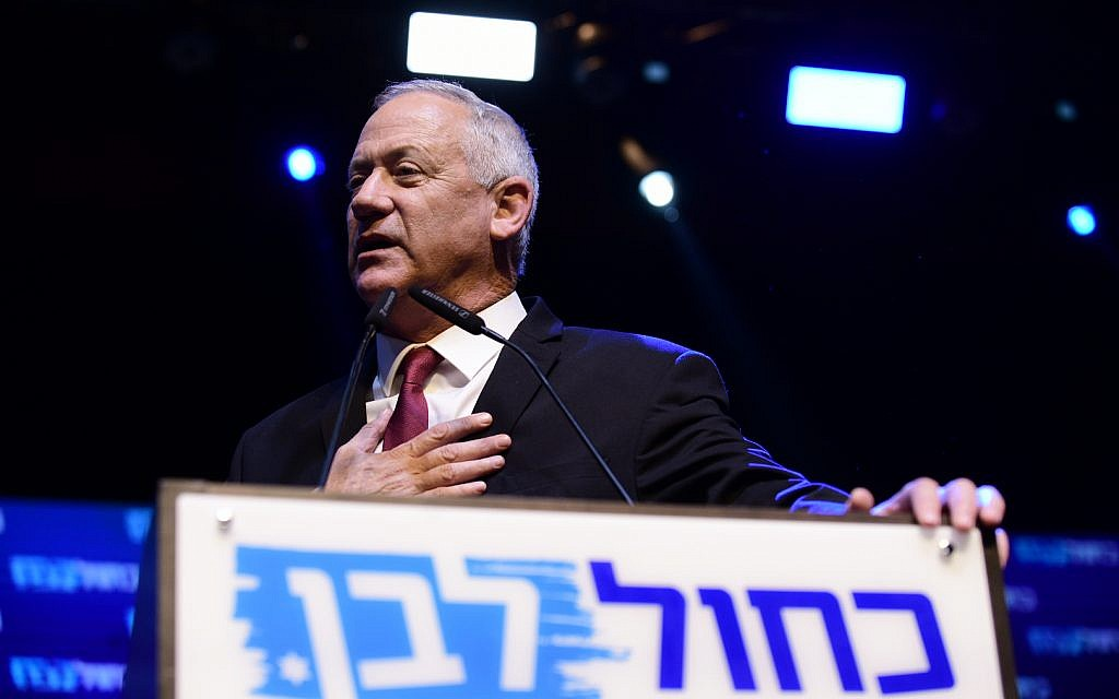 Benny Gantz, former Israeli army chief of staff and candidate for prime minister of the Blue and White Israeli centrist political party, gives a speech after early exit polls in the general election during a rally with supporters in Tel Aviv, Israel, 17 September 2019. Early polls gave Israeli Prime Minister Benjamin Netanyahu's Likud party and Benny Gantz's Blue and White party almost equal amount of Knesset seats in the Israeli general elections. Photo by: Tomer Neuberg-JINIPIX
