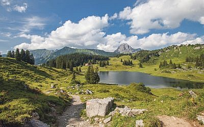 Koerber Lake in the Vorarlberg  area near the famous village of Lech, the most beautiful spot in AustriaTirol, Austrian Alps