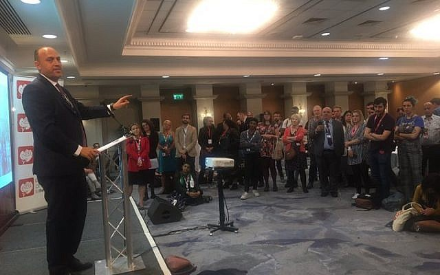 Husam Zomlot addressing the Labour Friends of Palestine and the Middle East event at Labour Conference 2019