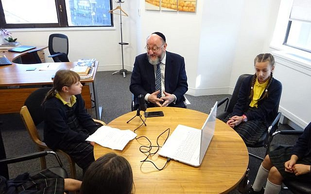 Nancy Reuben pupils record podcast with Chief Rabbi