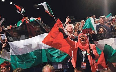 Palestine flags are waved during the Labour conference 2019 (Jewish News)