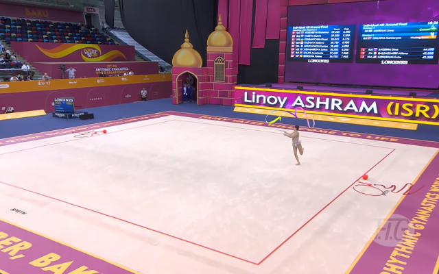 Linoy Ashram during one of her medal-winning performances