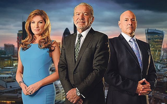 Lord Sugar with Karen Brady, Claude Littner and previous Apprentice winners