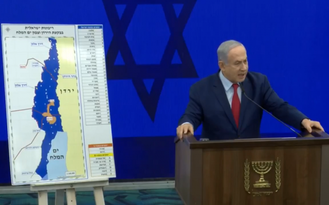 Benjamin Netanyahu during a press conference announcing the planned expansion