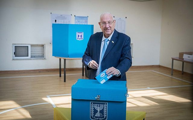 President Reuven Rivlin casts his ballot at a voting station in Jerusalem, during the Knesset Elections, on September 17, 2019.. Photo by: JINIPIX