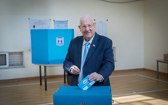 President Reuven Rivlin casts his ballot at a voting station in Jerusalem, during the Knesset Elections, on September 17, 2019. Photo by: JINIPIX