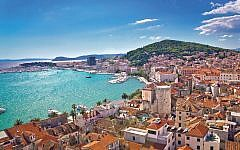 Split waterfront and Marjan hill aerial view, Dalmatia, Croatia