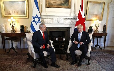 Prime Minister Boris Johnson with Israel's Prime Minister Benjamin Netanyahu before holding talks in 10 Downing Street. Photo credit: Alastair Grant/PA Wire