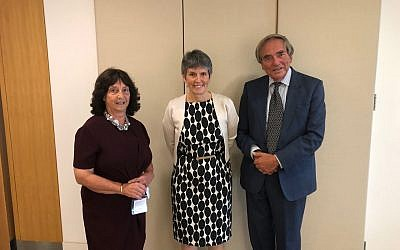 Florette Hyman, director of UKAJLJ (left),  Met Police Commisioner Dame Cressida Dick (middle) and Sir Michael Burton GBE QC chairman of UKAJLJ